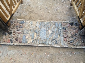 granite river pebbles with blue limestone cobbles