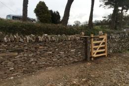 Slatey dry stone wall repair