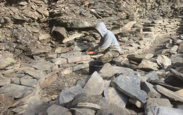 The dry stone wall begins to take shape