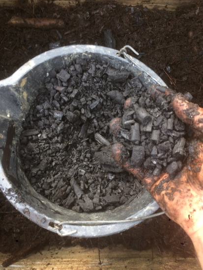 A bucket of biochar