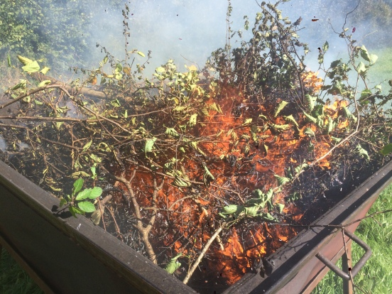 Brash is added and begins to burn
